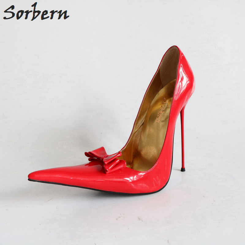Sorbern 2018 Women High Heels Metal Pumps Bow Slip On Pointed Toe Large Size Ladies Party Pumps Shoes Patent Leather sorbern women pumps 2018 pointed toe metal heels 10 7cm high heel ladies dress shoes slip on fashion party pumps shoes
