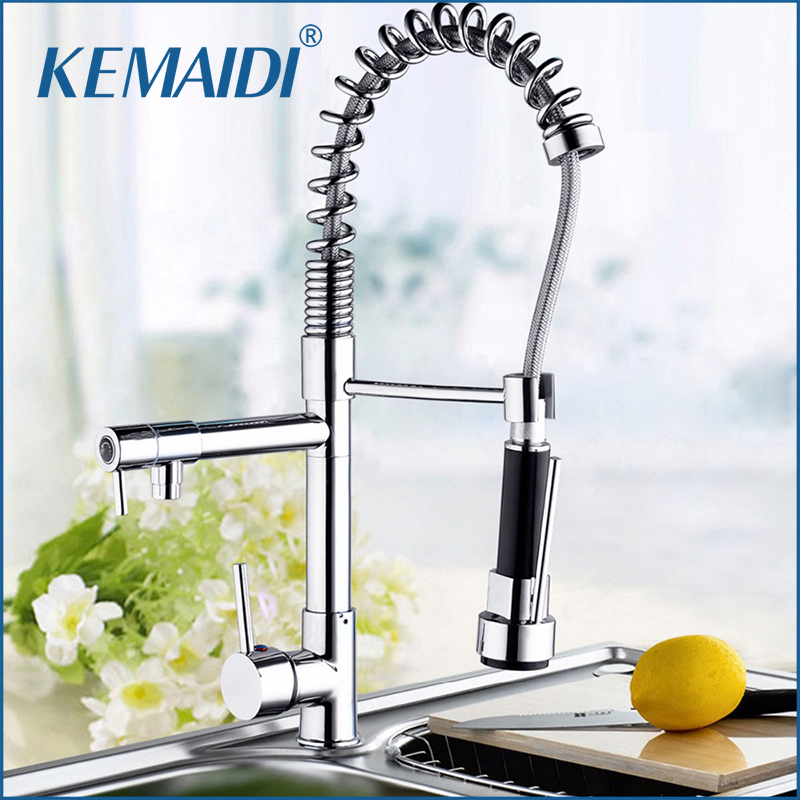 KEMAIDI 5 Years Warrnty Hot and Cold Water Spring Pull Out Kitchen Faucet Polish Chrome Finish