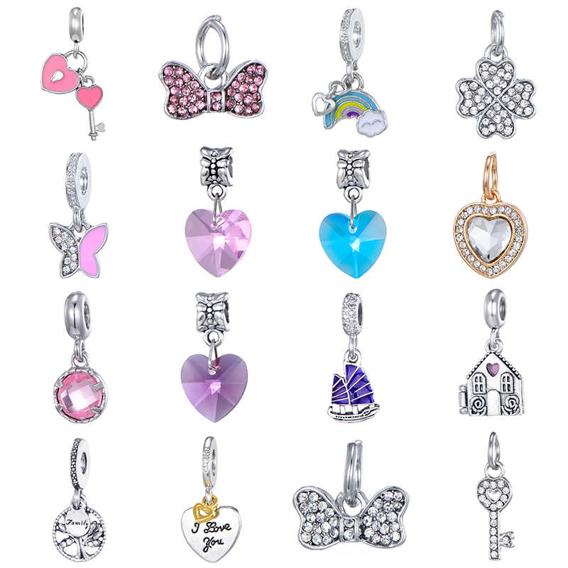 New Original Sliver House Rainbow Ship Butterfly Pendant Dangle Charms Fit Pandora Bracelet Necklace DIY Women Jewelry