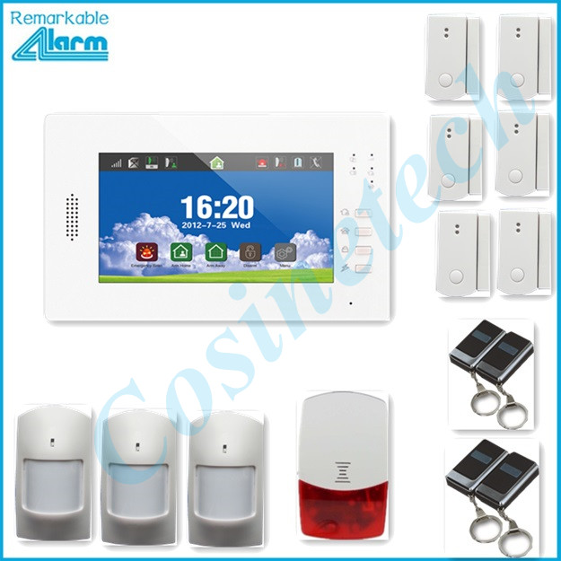 Free shipping 868MHZ Smart home security alarm panel , support IOS Android APP 7 inch touch screen GSM alarm system
