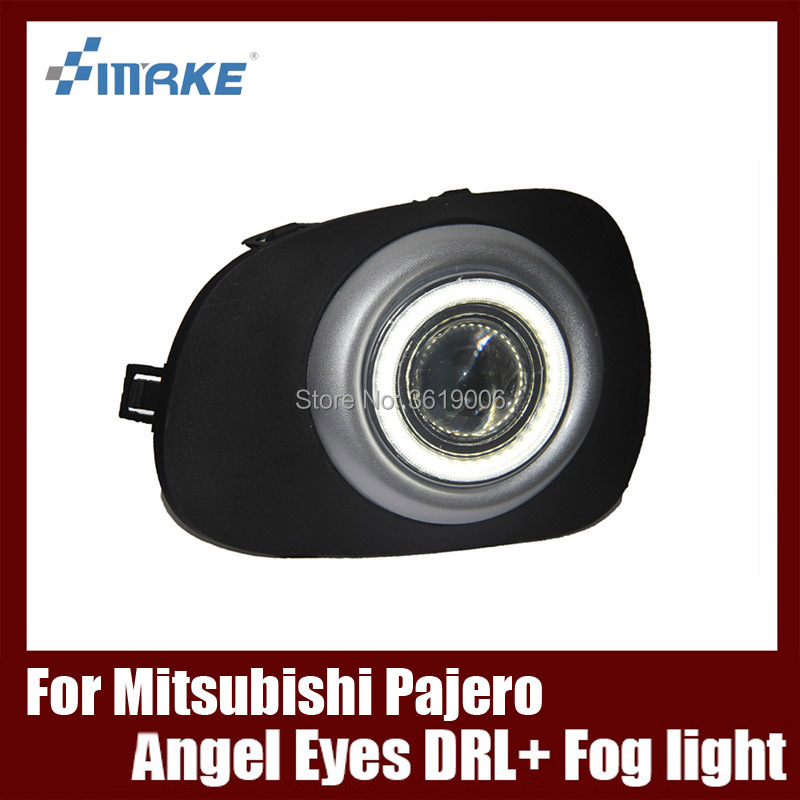 Fog Lamp Assembly LED Day Light COB Angel Eyes Foglight Daytime Running Light Lens Bumper For Mitsubishi Pajero Sport