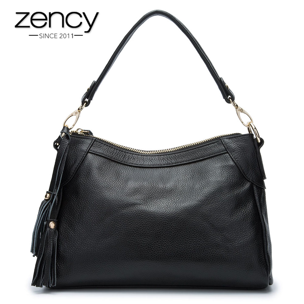 Fashion Female Shoulder Bag 100% Genuin Leather Real Cow Skin Simple Women Crossbody Messenger Bags With Beautiful Tassels 100% genuine leather women shoulder bags simple fashion real skin cowhide simple messenger bags leisure female messenger bag
