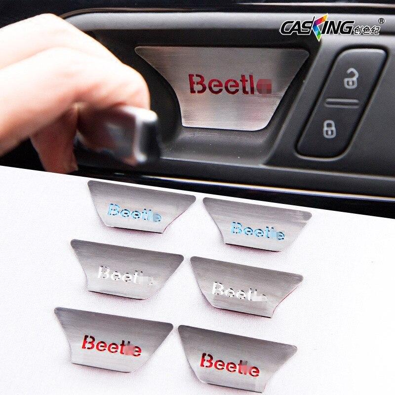 Car Inner Door Handle Decorations Interior Door Bowl Stickers Metal Plate Covers Refit for Volkswagen New Beetle Car Styling