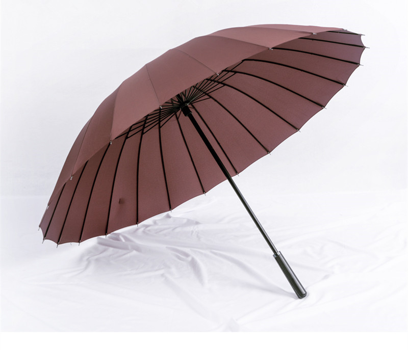 115cm open diameter Hand open 24 ribs solid colour leather PU business windproof umbrella carrying belts waterpoof car parasol in Umbrellas from Home Garden