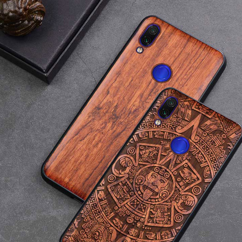 <font><b>Redmi</b></font> Note <font><b>7</b></font> Case Real Wood funda For <font><b>Xiaomi</b></font> <font><b>Redmi</b></font> Note <font><b>7</b></font> Note7 Pro Case Rosewood TPU Shockproof <font><b>Back</b></font> <font><b>Cover</b></font> Phone Shell image