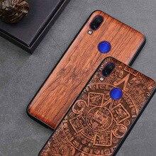 Redmi הערה 7 מקרה עץ אמיתי funda עבור Xiaomi Redmi הערה 7 Note7 פרו מקרה Rosewood TPU עמיד הלם חזרה כיסוי טלפון פגז