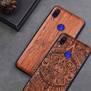 Image 1 - Redmi 注 7 ケース本物の木 funda 用 Xiaomi Redmi 注 7 Note7 プロケースローズウッド TPU 耐震バックカバー電話シェル