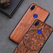 Redmi Note 7 etui z prawdziwego drewna funda dla Xiaomi Redmi Note 7 Note7 Pro etui z palisandru TPU odporna na wstrząsy obudowa na telefon