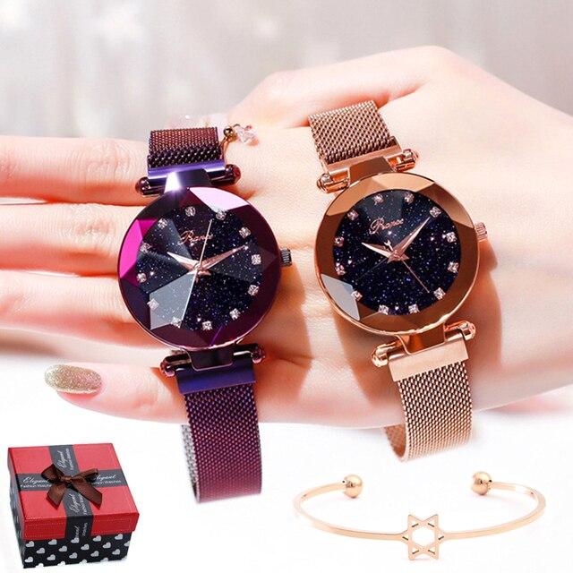 93a2bd7fb34 Marcas de luxo Senhoras Relógio Céu Estrela Mulheres Discagem Diamante Relógios  Pulseira de Aço Inoxidável Magnético
