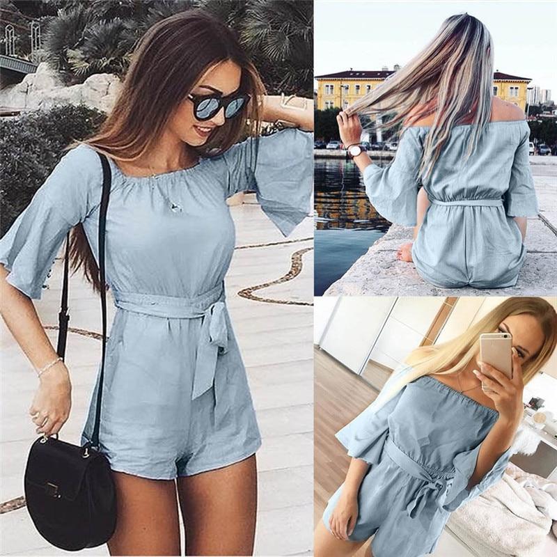 JAYCOSIN summer fashion Holiday Loosel Mini short Sleeve Playsuit Ladies   Jumpsuit   Summer Beach Short Pants 9.4