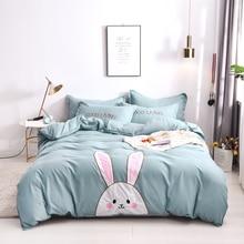 Lovely Cartoon Rabbit Bear Applique Embroidery Cotton Children Bedding Set Green Pink Duvet Cover Bed sheet/Linen Pillowcases