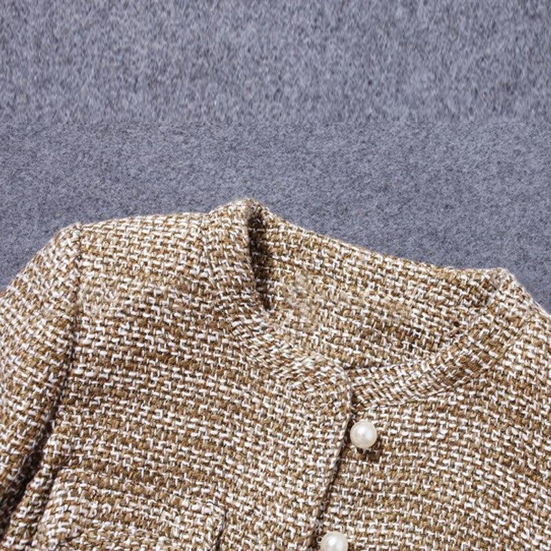 automne Burr Femme Printemps Courte Brun Seule De Femmes Manteau Tweed Petit Veste Kaki Pour Nouveau D'une Parfum Pièce 8q0OU0wZ