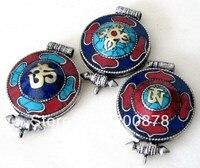 Wymieszać Hurtownie Tybetański Biały Metal Miedź Big GAU Modlitwa box 50mm Tybetański Amulet Wisiorki Lockets 5 sztuk dużo Darmo statek
