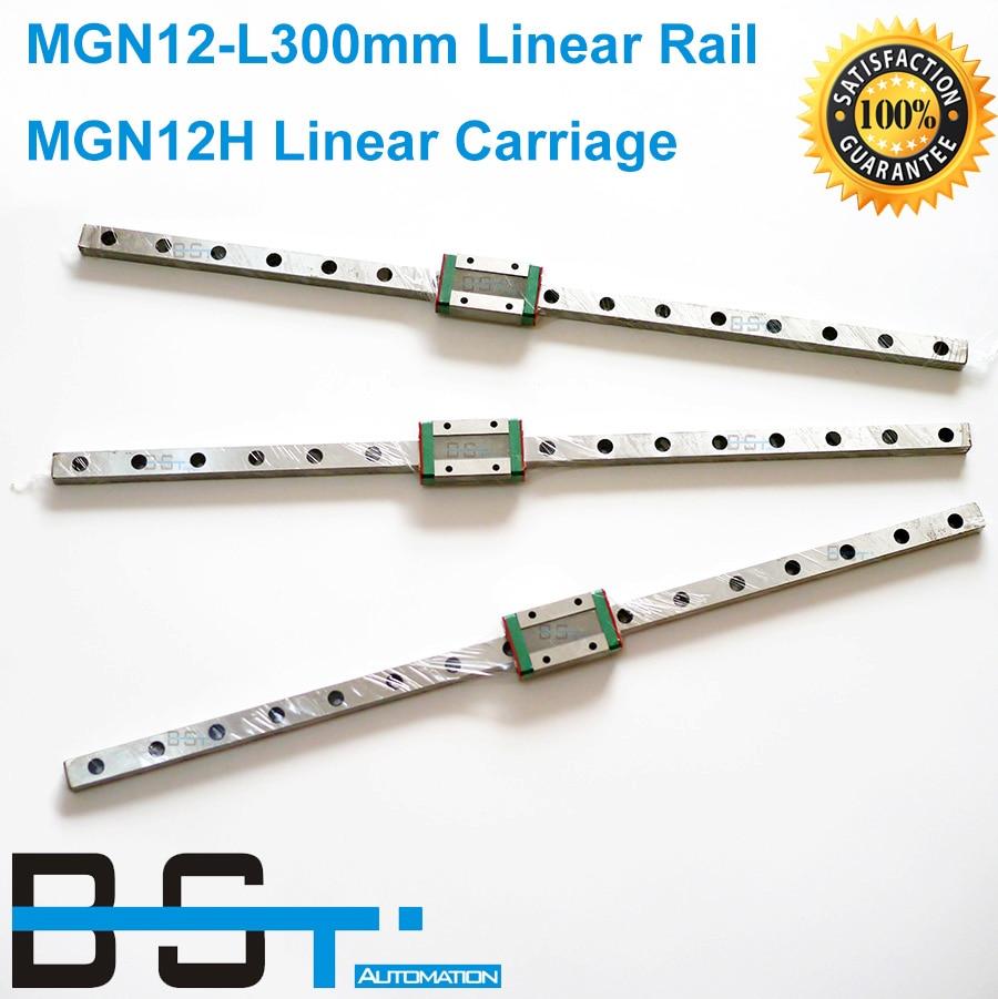 BSTMOTION 3D print parts cnc Kossel Mini MGN12 12mm miniature linear rail slide 3pcs 12mm L