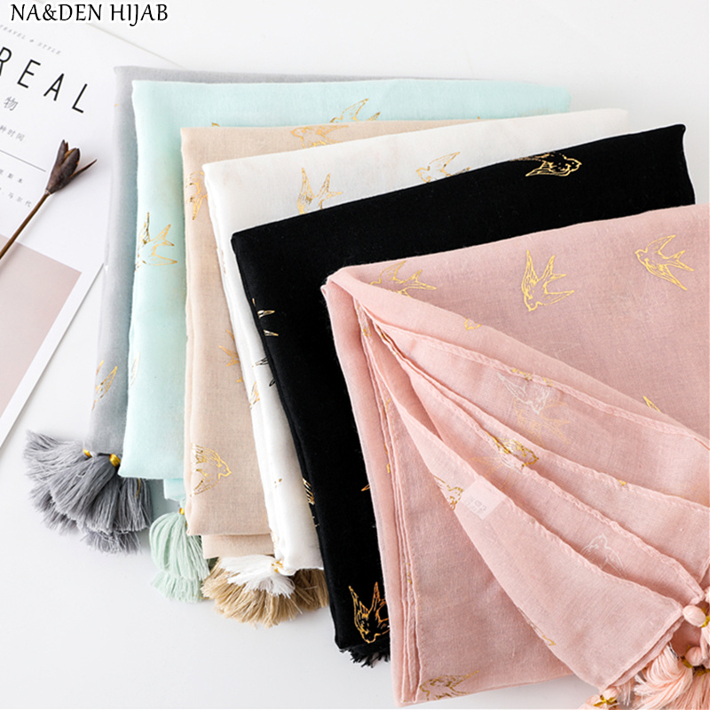 NEW swallow pattern hot stamping hijab scarf handmade tassel soft muslim print scarfs women scarves shawls fashion muffler 10pcs