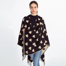 Winter Cashmere Scarf Heart Shawl Women Long Print Scarf Shawls Luxury Ponchos and Capes Blanket Scarf Pashmina