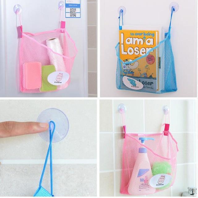 Colorful Kids Bath Toy Storage Net Bag Kawaii Suction Baskets Kids Baby Bathing Toys Bathroom Mesh Bag Toys For Children