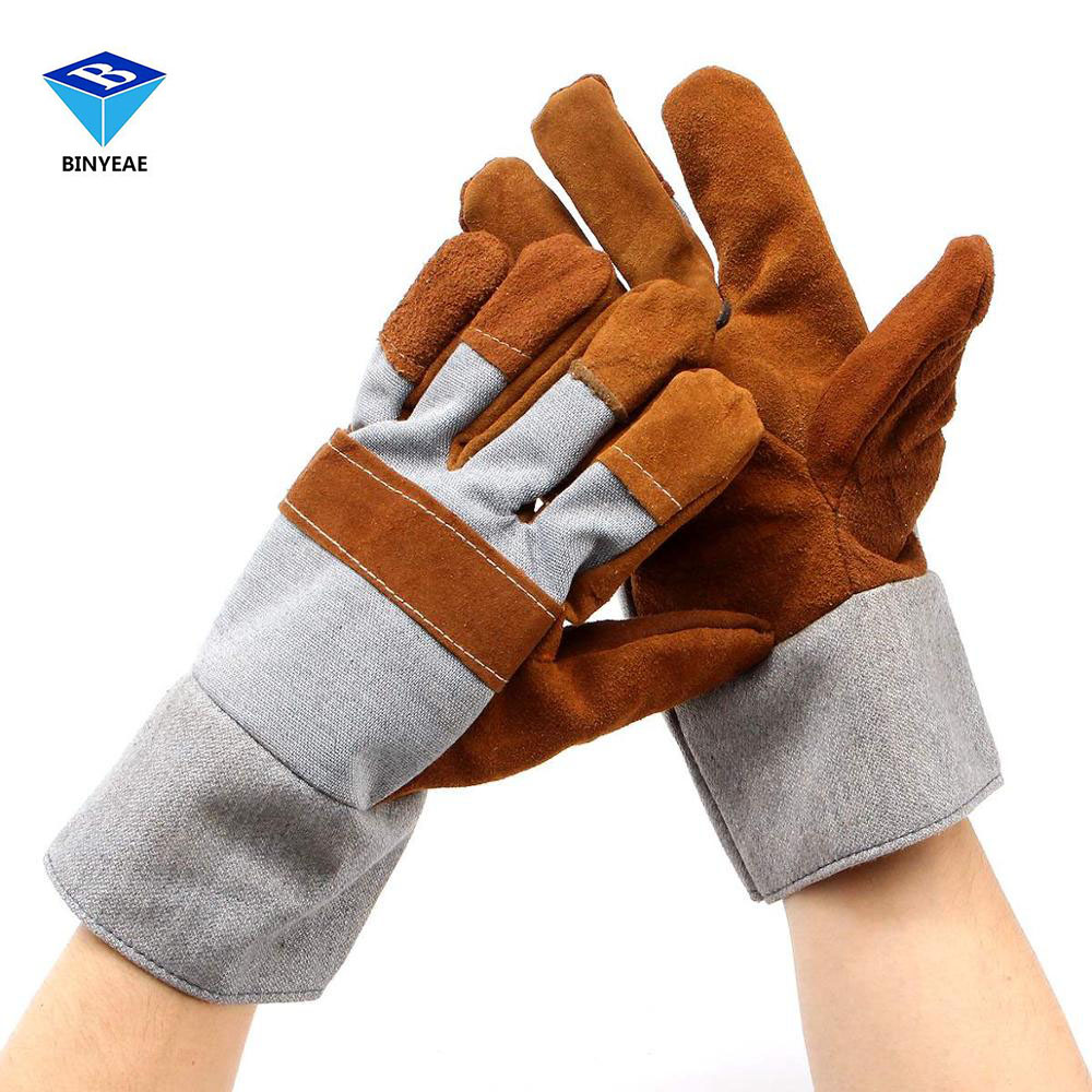 Leather work gloves china - Welding Welders Work Soft Cowhide Leather Plus Gloves For Protecting Hand Safety Gloves Genuine Binyeae Genuine Binyeae