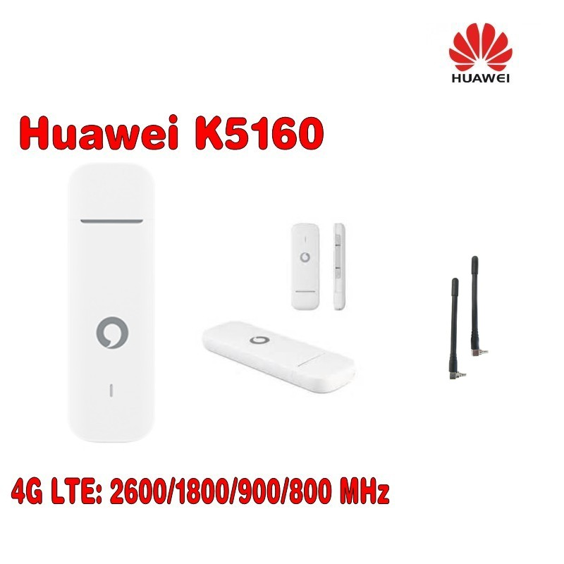 Unlocked New Huawei Vodafone K5160 with Antenna 4G LTE USB Modem 4G USB Stick Datacard &4G USB Dongle Mobile Broadband PK E3372