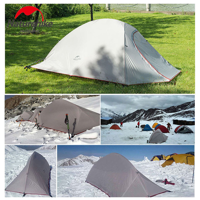 Naturehike Outdoor Camping Tent For 1 PersonUltralight 20D Silicone Fabric Double layer Rainproof 210T Plaid Fabric Beach Tent
