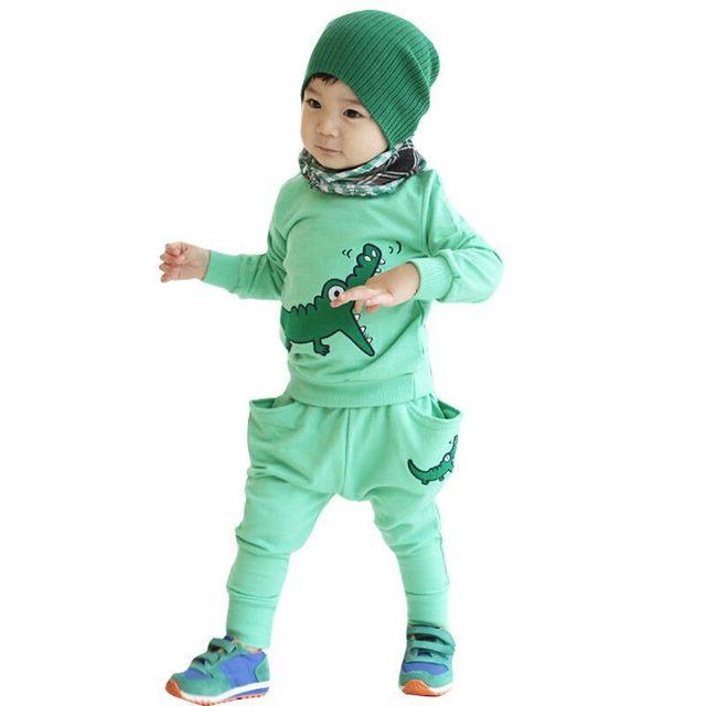 De manga comprida bordado de crocodilo Do Bebê do menino/menina Conjunto roupas set desgaste do bebê Crianças Terno dos Esportes das crianças desgaste