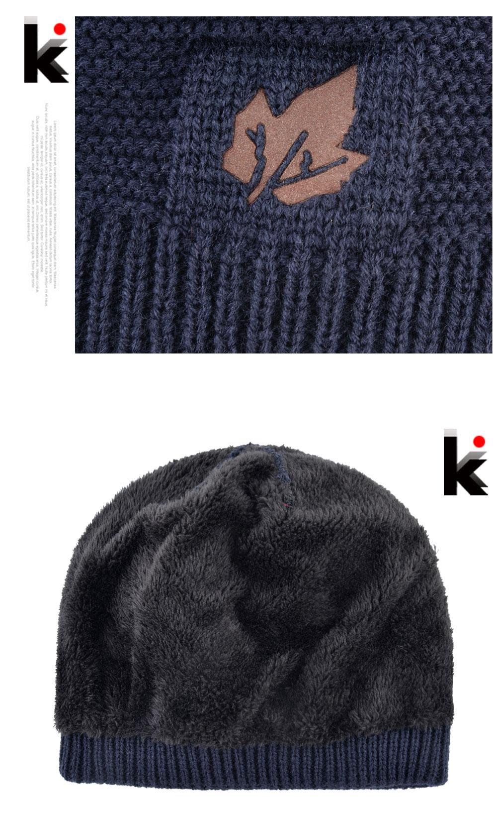 13c71333bf0 2018 Men Winter Hat Scarf Sets Fashion Maple Leaf Knitted Skullies Beanies  Man Thick Add Velvet Knit Bonnet Cap Boys Scarves Set