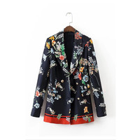 2017 Spring Summer New European Style Women Blazers And Jackets Floral Elegant Print Casual Jacket Brand