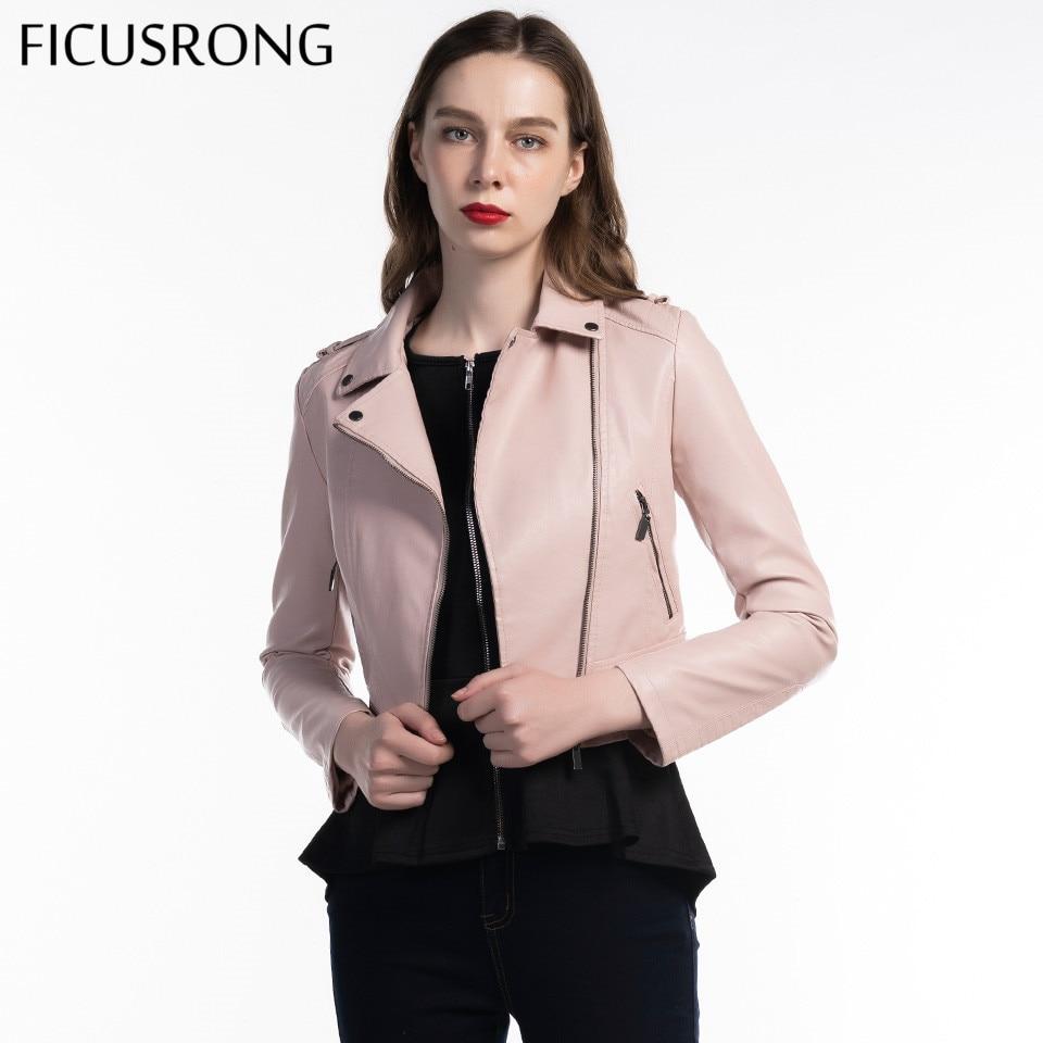 New 2019 Causal Coat Motorcycle PU Leather Jacket Women Winter And Autumn Fashion Coat Black Zipper Outerwear Jacket FICUSRONG