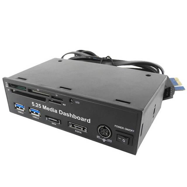 """Высочайшее Качество Binmer 5.25 """"PC media dashboard PCI-E 4-портовый USB 3.0 КОНЦЕНТРАТОР все в одном Кард-Ридер С Розничной Packge 13 Июля"""