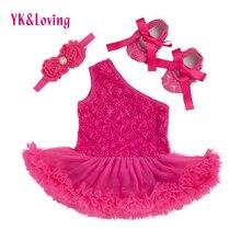 2017 Mode Bébé Fille Barboteuses Robe Rose Fleur Imprimer Princesse Robes 3 pcs Définit Nouveau-Né Infantile Une Épaule Vêtements Z203