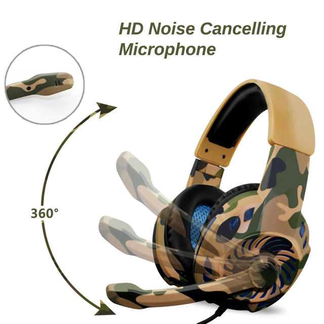 Camouflage Headset Bass Gaming Headphones 2
