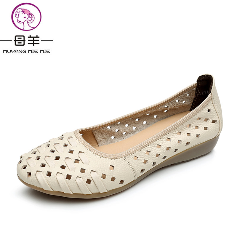 MUYANG MIE MIE Plus Size 34-43 Genuine Leather Flat Women Shoes Woman Soft Sandals Female Summer Shoes Fashion Women Sandals gktinoo summer shoes woman genuine leather sandals open toe women shoes slip on wedges platform sandals women plus size 34 43