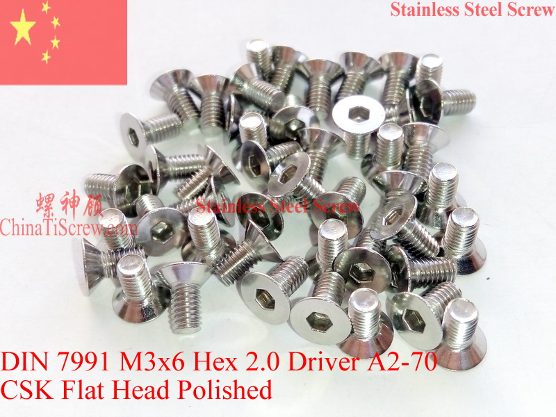 Stainless Steel screws M3x6 CSK Flat  Head DIN 7991 Hex Driver A2-70 Polished ROHS 100 pcs