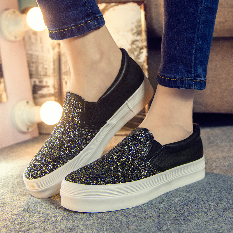 2017 Platform Loafers Fashion Bling Glitter Women Shoes Slip On Flats Ladies  Creepers Hot Silver Shoes Woman Size 35 40  GU16-in Women s Flats from Shoes  on ... f596d9ddd601