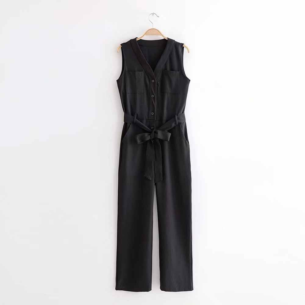 2019 de las mujeres sin mangas de verano con cuello en V de oficina de moda dama negro mono pantalón largo