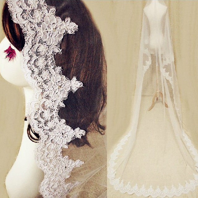 Veil Wedding One Layer Lace Edge Cathedral Bridal Accessories Crystal Three meter Long Designer Style High Quality Tulle