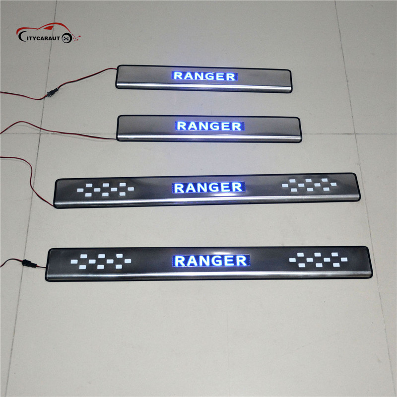 FOR FORD RANGRE LED scuff plate door sills entry guards covers for Ranger T6 T7 2012 2013 2014-2017 car styling auto accessories hot sale for honda civic 2012 2014 accessories chrome door handle luxurious not rust 2013 2014 car covers stickers car styling