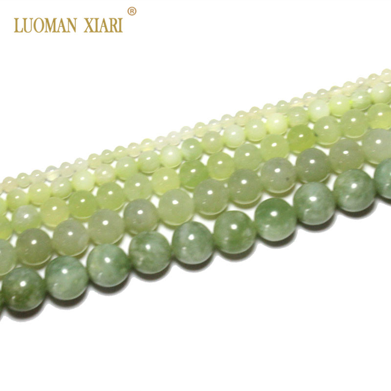 Fine AAA Natural Round  New Green Jade Stone Beads  For Jewelry Making DIY  Bracelet Necklace 4/6/8/10/12 Mm Strand 15''