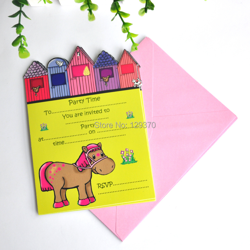Free shipping 24PCS/LOT Little Pony Series Party Invitation Cards ...