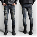 New High Quality Street Mens Jeans Slim Fit Hole Retro Zipper Finishing Decoration Ripped Skinny Jeans Men Plus SIzeM-XL