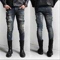 Nueva Calle de la Alta Calidad Para Hombre Jeans Slim Fit Agujero Retro Acabado Cremallera Decoración Ripped Skinny Jeans Hombres Plus Sizem-3xl XL