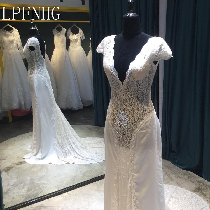 White Backless Lace Mermaid Wedding Dresses 2018 V Neck: Vestidos De Noiva 2018 Lace Mermaid Wedding Dresses Deep V
