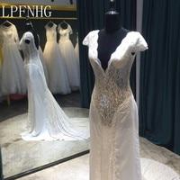 Vestidos De Noiva 2018 Lace Mermaid Wedding Dresses Deep V-Neck Short Sleeve Backless Sweep Train Sexy Bride Gowns Dresses