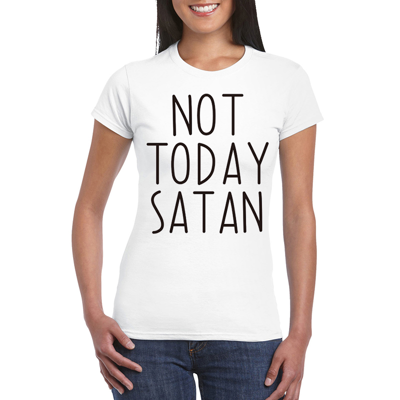 not today satan letters print women t shirt cotton casual funny shirt for lady gray top tee. Black Bedroom Furniture Sets. Home Design Ideas