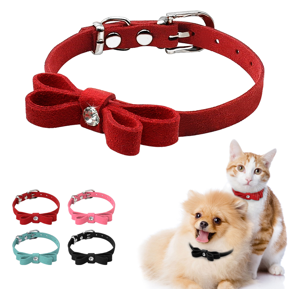 Didog Soft Suede Leather Kitten Puppy Dog Collar Adjustable Bowknot Dogs Cat Collars Pet Accessories For Small Cats Dogs Pink Xs