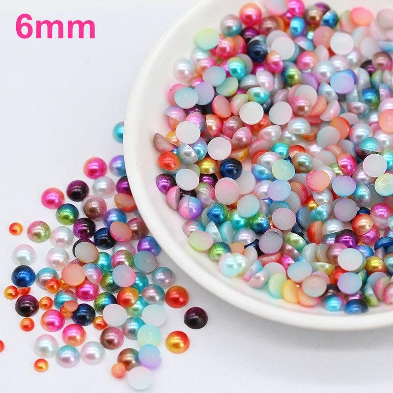 200pcs 6mm Colorful Half Round Imitation Pearls Flatback Scrapbook Beads DIY For Garment/Phone Case/Nail Making