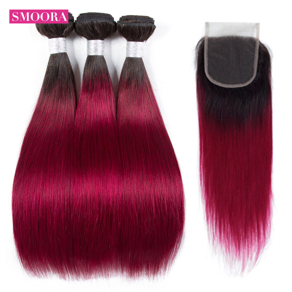 Ombre Hair Bundle with Closure Brazilian Straight Human Hair Weaves 3 Bundle with Closure Ombre Color 1B/Burgundy NonRemy Smoora
