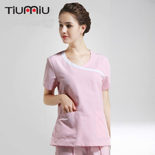New Doctor Nurse Uniforms Women's Short Sleeves Medical Scrub Set Hospital doctor Dental Clinic Beauty Salon Fashion Design Slim(China)