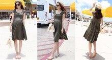 Для беременных Платья Одежда Для Беременных Одежда О-Образным Вырезом С Коротким Рукавом 2 Цвета Тонкий Беременность Dress Одежда 2016 Летняя Мода