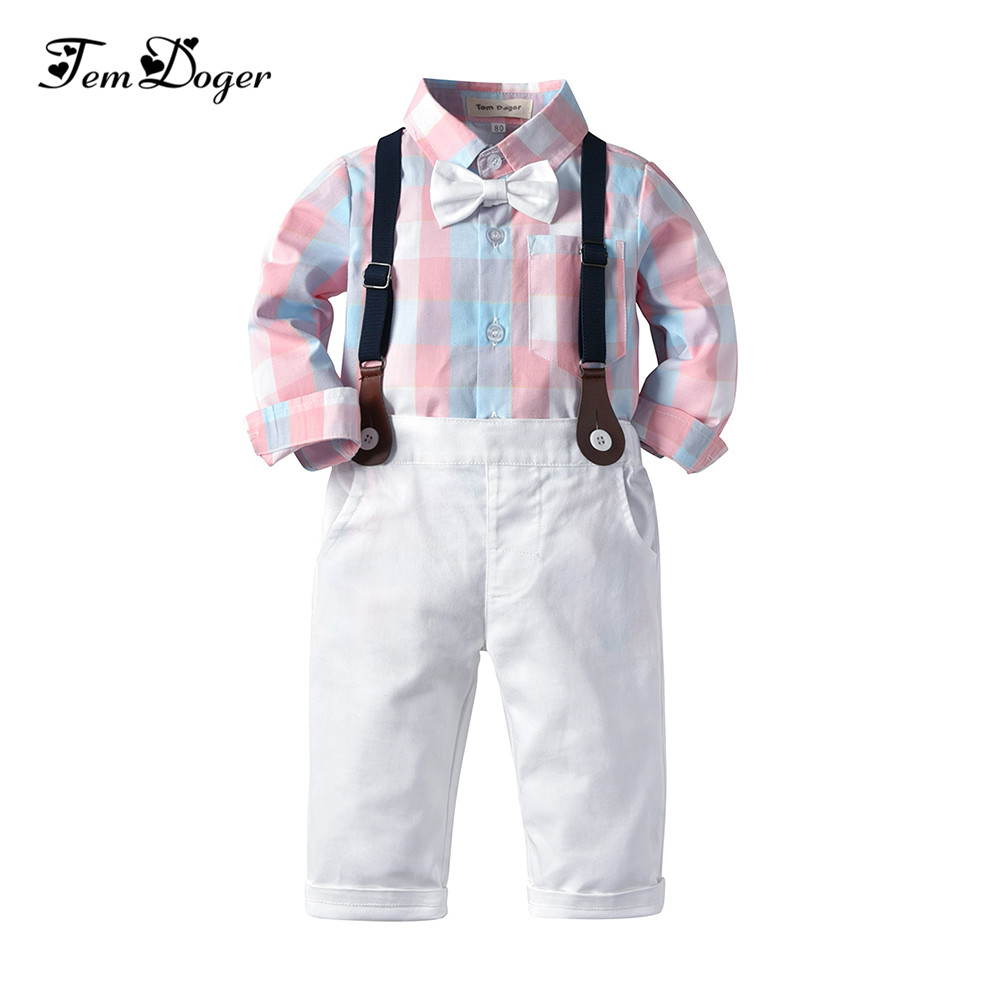 3280a878ab54 Tem Doger Baby Clothing Sets Infant Newborn Boy Clothes Long Sleeve Tie Tops +Pants+Strap 3PCS Outfits Suit for Bebes Boys Wear ~ Top Deal June 2019